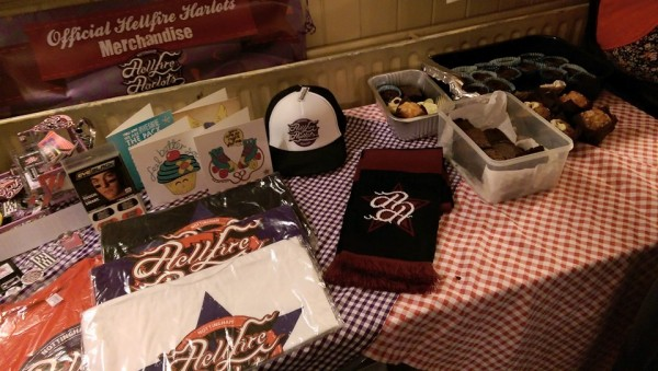 Table of gorgeous Harlot merch